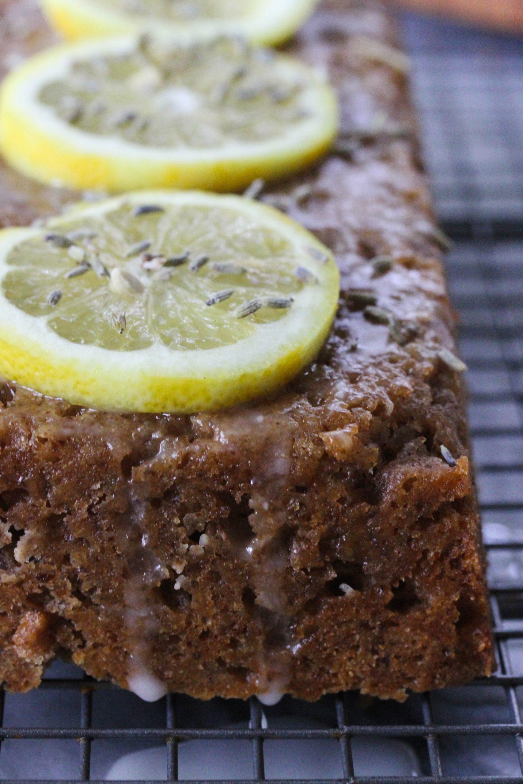 lemon lavender cake close up