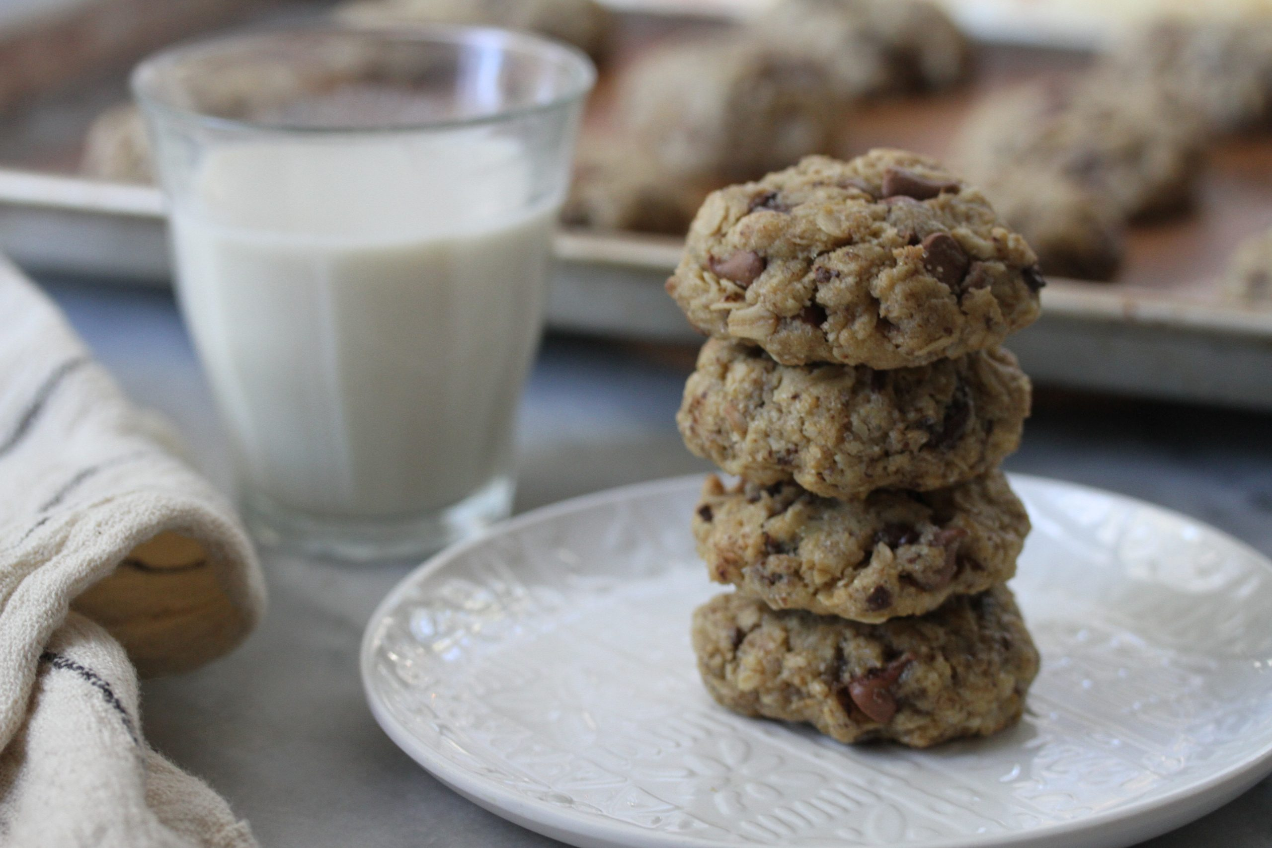 vegan oatmeal chocolate chip cookies and oat milk